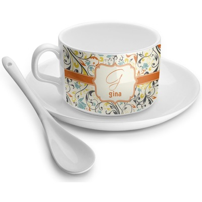 Swirly Floral Tea Cups (Personalized)