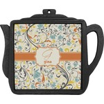 Swirly Floral Teapot Trivet (Personalized)