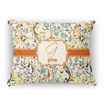 Swirly Floral Rectangular Throw Pillow Case (Personalized)
