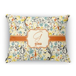Swirly Floral Rectangular Throw Pillow (Personalized)