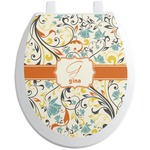 Swirly Floral Toilet Seat Decal (Personalized)