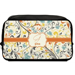 Swirly Floral Toiletry Bag / Dopp Kit (Personalized)