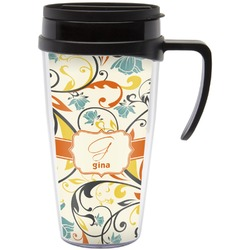 Swirly Floral Travel Mug with Handle (Personalized)