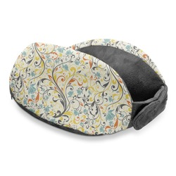 Swirly Floral Travel Neck Pillow (Personalized)
