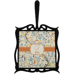 Swirly Floral Trivet with Handle (Personalized)