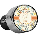 Swirly Floral USB Car Charger (Personalized)