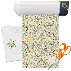 "Swirly Floral Heat Transfer Vinyl Sheet (12""x18"")"