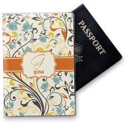 Swirly Floral Vinyl Passport Holder (Personalized)