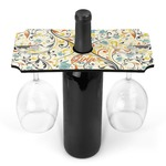Swirly Floral Wine Bottle & Glass Holder (Personalized)