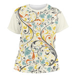 Swirly Floral Women's Crew T-Shirt (Personalized)
