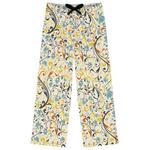 Swirly Floral Womens Pajama Pants (Personalized)