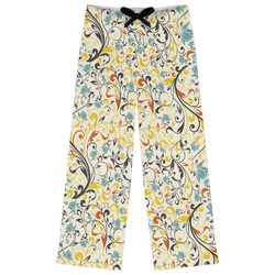 Swirly Floral Womens Pajama Pants (Personalized)