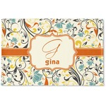 Swirly Floral Woven Mat (Personalized)