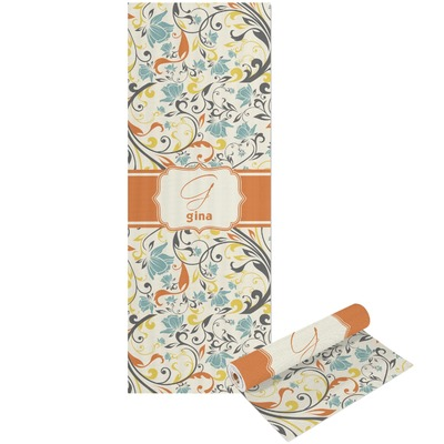 Swirly Floral Yoga Mat - Printed Front and Back (Personalized)