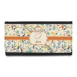 Swirly Floral Leatherette Ladies Wallet (Personalized)