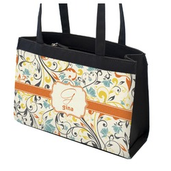 Swirly Floral Zippered Everyday Tote (Personalized)