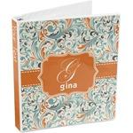 Orange & Blue Leafy Swirls 3-Ring Binder (Personalized)