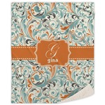 Orange & Blue Leafy Swirls Sherpa Throw Blanket (Personalized)