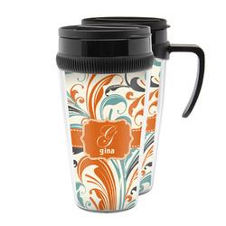 Orange & Blue Leafy Swirls Acrylic Travel Mugs (Personalized)