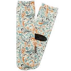 Orange & Blue Leafy Swirls Adult Crew Socks (Personalized)