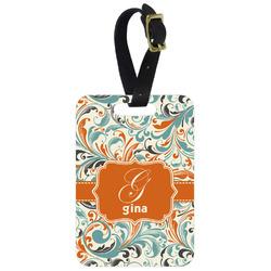 Orange & Blue Leafy Swirls Aluminum Luggage Tag (Personalized)