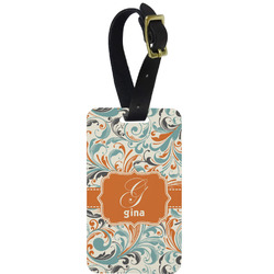 Orange & Blue Leafy Swirls Metal Luggage Tag w/ Name and Initial