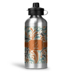 Orange & Blue Leafy Swirls Water Bottle - Aluminum - 20 oz (Personalized)