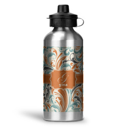 Orange & Blue Leafy Swirls Water Bottle - Aluminum - 20 oz (Personalized)