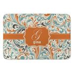 Orange & Blue Leafy Swirls Anti-Fatigue Kitchen Mat (Personalized)