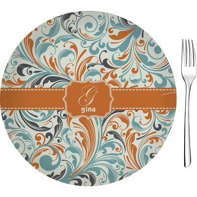 """Orange & Blue Leafy Swirls Glass Appetizer / Dessert Plate 8"""" (Personalized)"""
