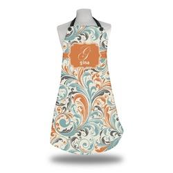 Orange & Blue Leafy Swirls Apron (Personalized)