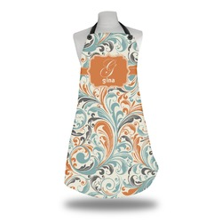 Orange & Blue Leafy Swirls Apron (Personalized)