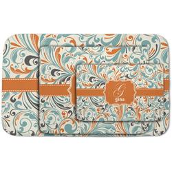 Orange & Blue Leafy Swirls Area Rug (Personalized)