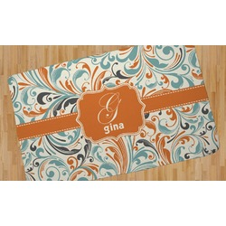 Orange & Blue Leafy Swirls Area Rug (Personalized)