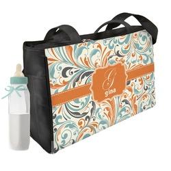 Orange & Blue Leafy Swirls Diaper Bag (Personalized)