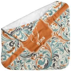 Orange & Blue Leafy Swirls Baby Hooded Towel (Personalized)