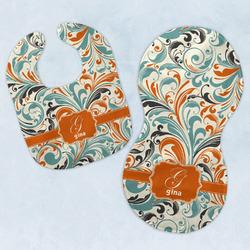 Orange & Blue Leafy Swirls Baby Bib & Burp Set w/ Name and Initial