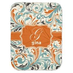 Orange & Blue Leafy Swirls Baby Swaddling Blanket (Personalized)