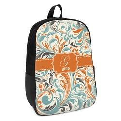Orange & Blue Leafy Swirls Kids Backpack (Personalized)
