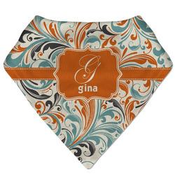 Orange & Blue Leafy Swirls Bandana Bib (Personalized)
