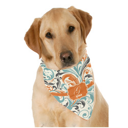 Orange & Blue Leafy Swirls Pet Bandanas (Personalized)
