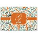 Orange & Blue Leafy Swirls Woven Mat (Personalized)