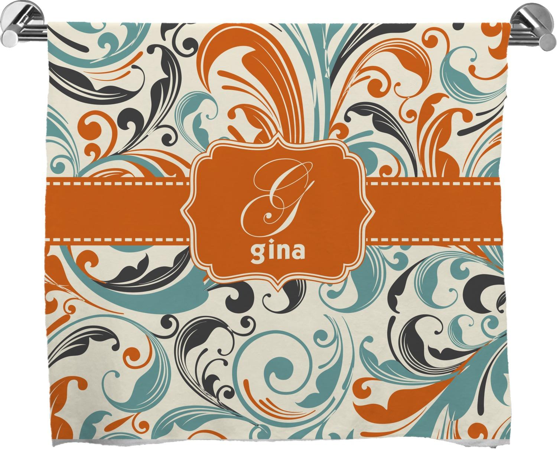 Personalized Orange Blue Swirls /& Stripes Full Print Bath Towel