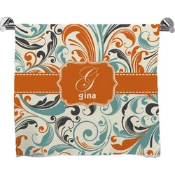 Orange & Blue Leafy Swirls Bath Towel (Personalized)