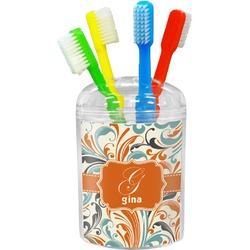 Orange & Blue Leafy Swirls Toothbrush Holder (Personalized)