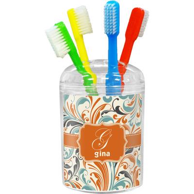 Orange & Blue Leafy Swirls Toothbrush Holder (Personalized)