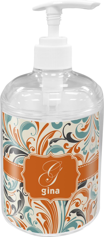 Orange Blue Leafy Swirls Bathroom Accessories Set Personalized