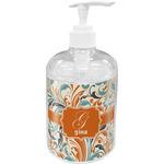 Orange & Blue Leafy Swirls Acrylic Soap & Lotion Bottle (Personalized)