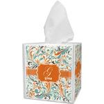 Orange & Blue Leafy Swirls Tissue Box Cover (Personalized)