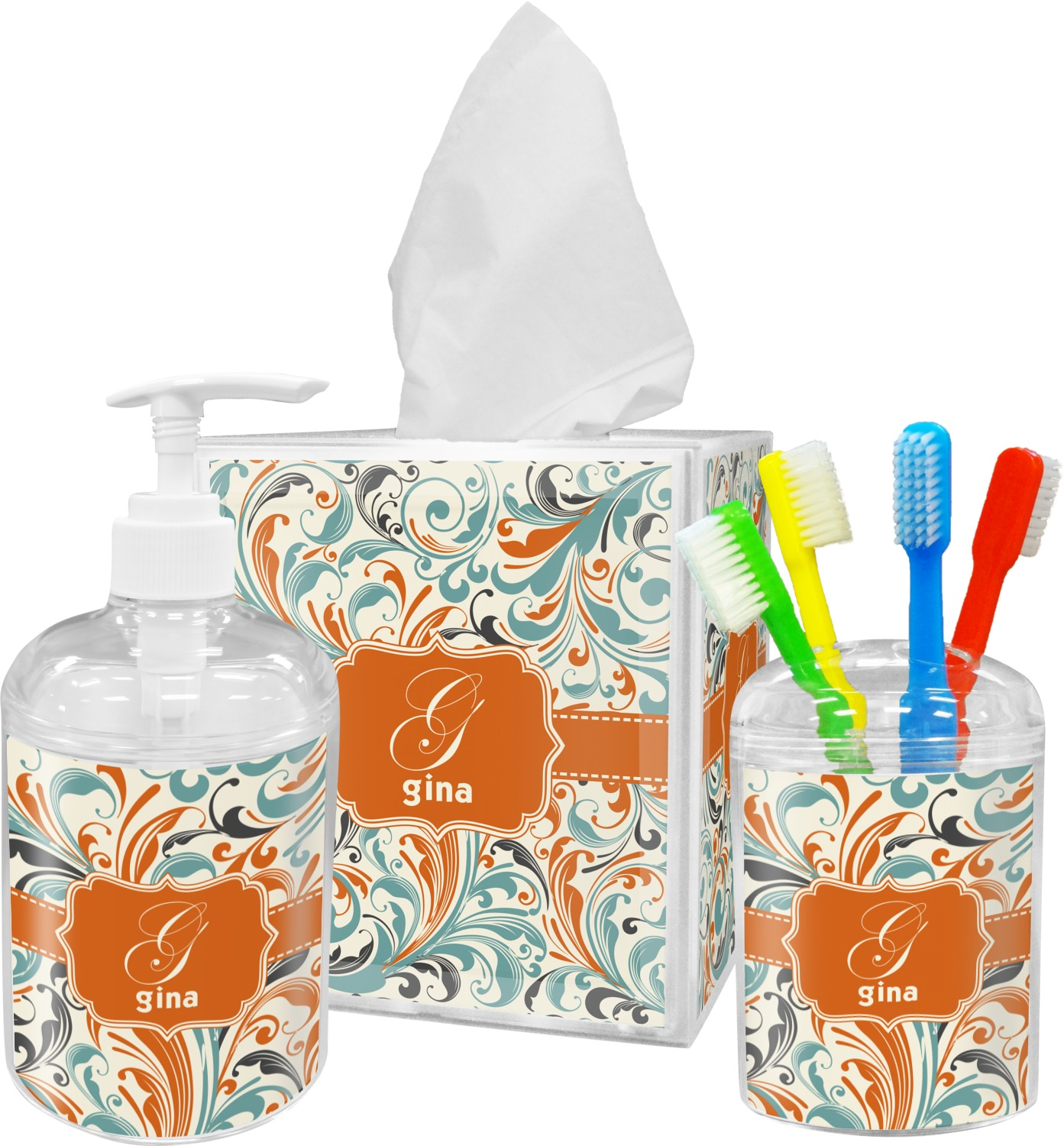 Orange blue leafy swirls bathroom accessories set - Monogrammed bathroom accessories ...